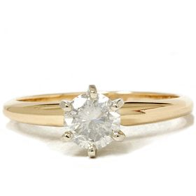 65 Carat 14k Yellow Gold Diamond Solitaire Engagement Ring Round