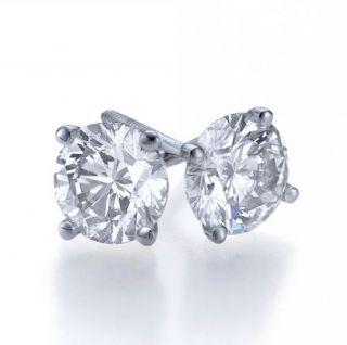00 Carat Each D vs Genuine Diamond Stud Earrings 14k White Gold