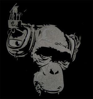 DJ Monkey Headphones Mens Club Party T Shirt Music Hip Hop Trance