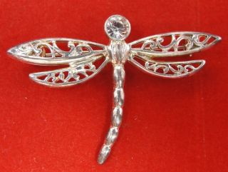 Premier Designs Silver Speedy Filigree Crystal Dragonfly Brooch Pin