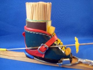 Vintage Collectible Downhill Ski Binding Boot Pole Toothpick Holder