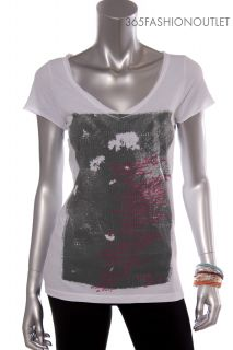 New DKNY JEANS Womens Ladies Vneck Letter & Picture Print Tshirt Top