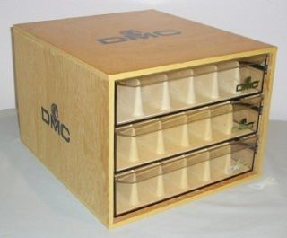 dmc thread floss wooden display box embroidery storage marked