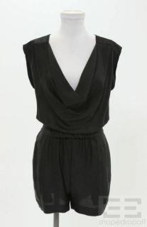 DVF Diane Von Furstenberg Black Silk Draped Romper Size 2