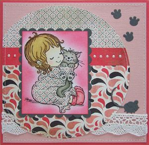 Stampavie Penny Johnson Girl and Cat Snuggles Clear Stamp