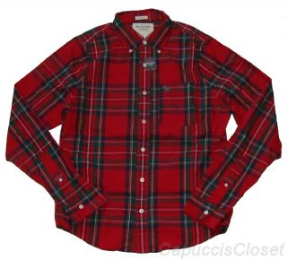 Abercrombie Mens Shirt Douglass Mountain Button Down Red Plaid XXL 2XL