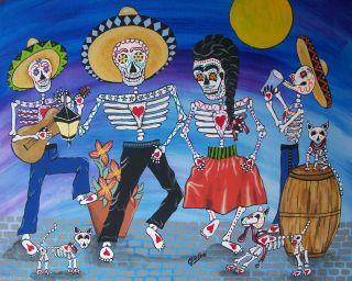 Julie Ellison DOD Mariachi Band Full Moon Mexican Folk Art Canvas ACEO