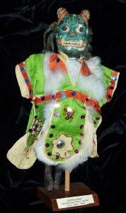 Antique Asian Evil Spirit Ogre Dragon Puppet Head Doll