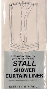 Stall Size Vinyl Shower Curtain Liner 54 Wide x 78