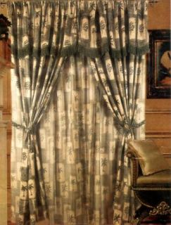 Green Tropical Jacquard Curtains Window Panel Drapes w Valance