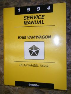 1994 DODGE RAM VAN WAGON REAR WHEEL DRIVE FACTORY SERVICE MANUAL 94
