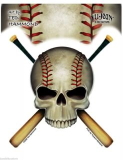 Baseball Skull Sticker Geared Up and Ready to Take The Field 4 75 x