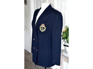 Ralph Lauren Vtg 80s Navy Crest Preppy Military Boyfriend Wool Jacket
