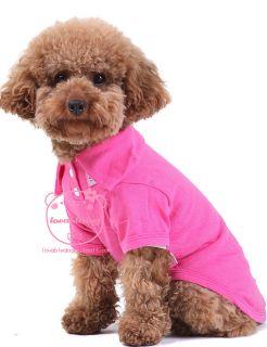 100 Cotton Pet Dog Clothes Apparel Cute Polo T Shirts Rose Size XS