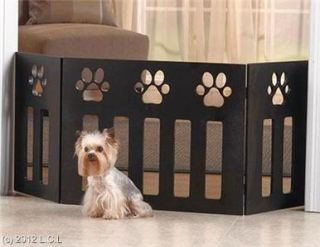 x19 Decorative Functional Wooden Paw Print Design Pet Dog Gate