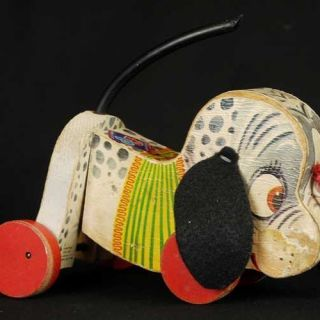 Vintage Wooden Fisher Price Antique Dog Pull Toy 445 Nosey 1956