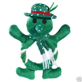 Zanies Fling A Ring Snowman Dog Toy Plush Rope Green 8
