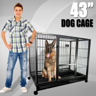 43 Dog Kennel w Wheels Portable Pet Puppy Carrier Crate Cage Heavy