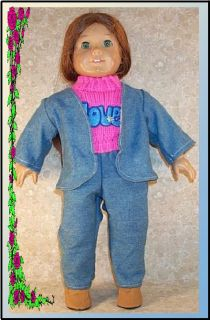 Doll Clothes Jacket Pants Sweater Love Set Fit American Girl New 18