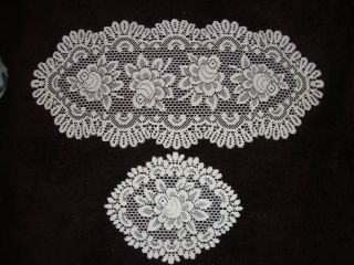 New White lace Alpine Roses design Dresser scarf doilies set of 4