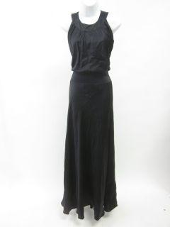 domenico vacca black silk sleeveless ruched dress 42