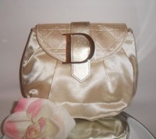 Christian Dior Parfums Makeup Cosmetic Bag Travel Case Gold Color New