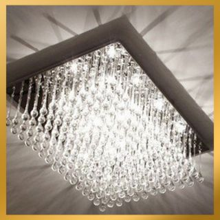 Modern Crystal Round Rod Drop Light Pendant Lamp Ceiling Hanging