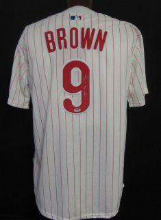 DOMINIC BROWN Phillies Autographed/Signed Jersey PSA/DNA Size 50