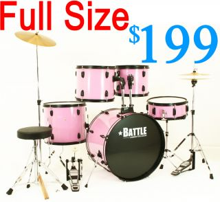 New Princess Pink Drum Set w Cymbals Stands Full Size