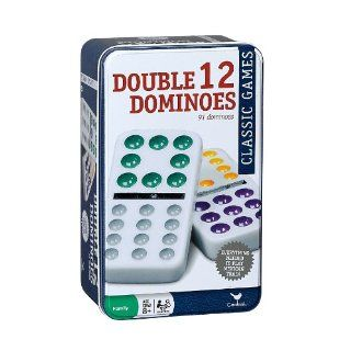 Double 12 Color Dot Mexican Train Dominoes in Tin
