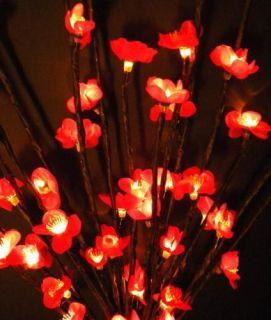 Lighted Dark Pink Plum Flower Tree Branch 60 Lights 34 Light Red