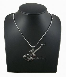 Cute Guitar Diamante Necklace Girl Lady Gift WJT