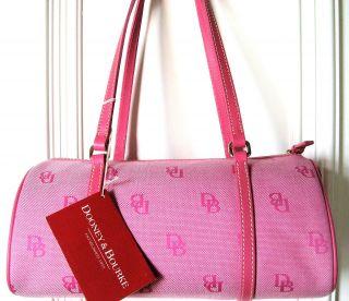 NWT $175 Dooney Bourke hot pink signature shoulder barrel tote purse