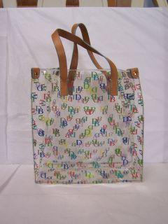 Dooney Bourke DB Signature Clear Plastic Lunch Tote Bag Handbag Purse
