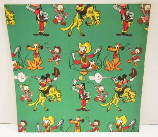 Walt Disney Character 1950s Unused Gift Wrap Wrapping Paper Cowboy