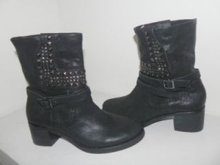 Vince Camuto Donato Black Studded Leather Motorcycle Ankle Boots 8 5