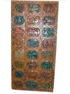 Hand Carved Tribal Carving Wall Panel Birds Animals Colorful Wood Door