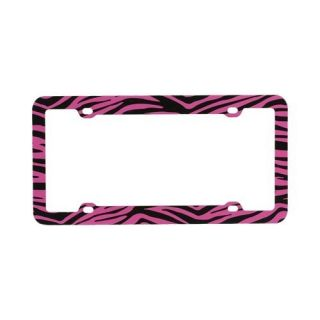 Pink Black Zebra for Plastic License Plate Frame Cover