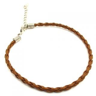 Coloured Braided Leather Charm Friendship Bracelets