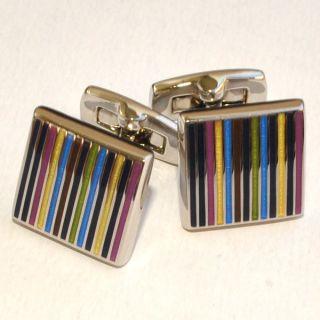 100 New Duchamp Cufflinks Fine Line Enamel $150 Authentic Gift Box