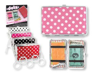 New Flat Mini Clutch Polka Dot Dotz Wallets Red Black White Pink Blue