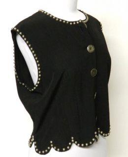 Double D Ranchwear Size L Black Vest Ranch Wear Silver Studs Rayon