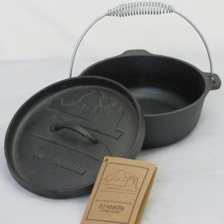 Mountain Pre Seasoned Cast Iron 2 Quart Flat Bottom Dutch Oven