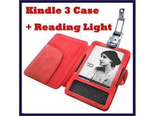 Leather Protective Case for  Kindle 3 3G WiFi LED Reading Light