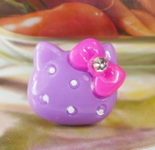 20pcs Resin Hello Kitty Flatback Purple Button K42