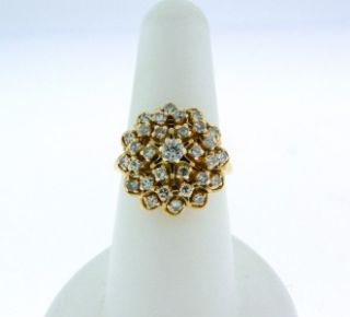 Beautiful Vintage Solid 14k Yellow Gold Diamond Harem Princess Ring 1