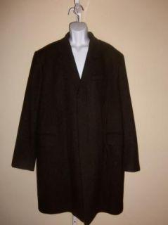 Banana Republic Mens Coat Knee Length Gray Wool Size XL Pre Owned