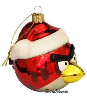 Birds Santa Claus Hat Red Bird Blown Glass Christmas Ornament