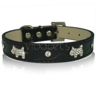 11 black leather rhinestone dog collar small s casual