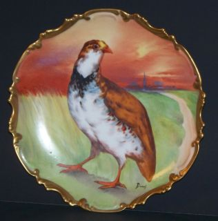 Antique Hand Painted 11 5 inch Quail Plate Charger Signed Duval